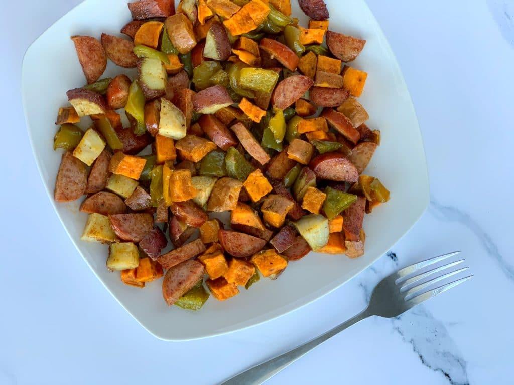 sheet pan roasted sausage and veggies