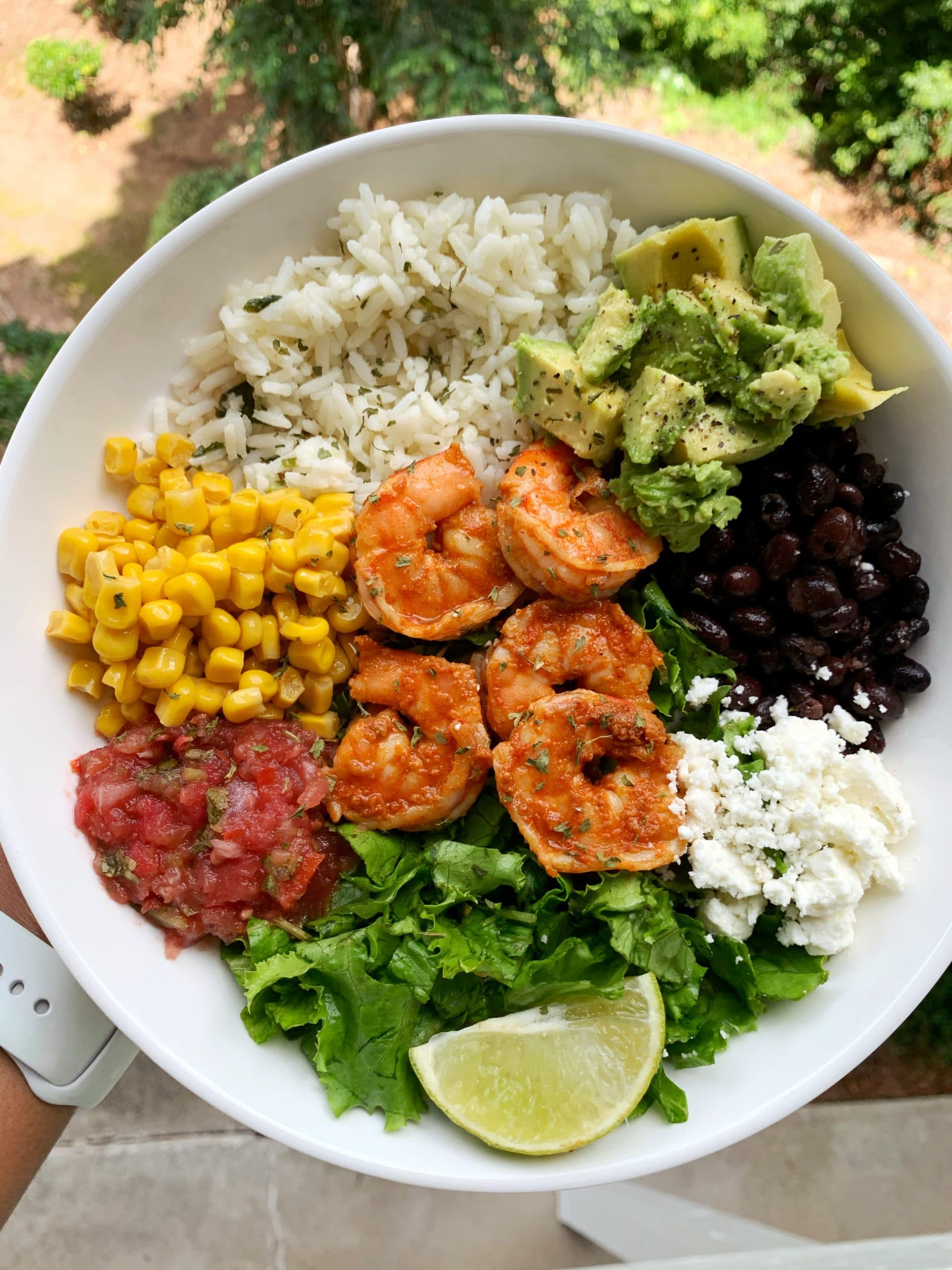 spicy shrimp burrito bowls