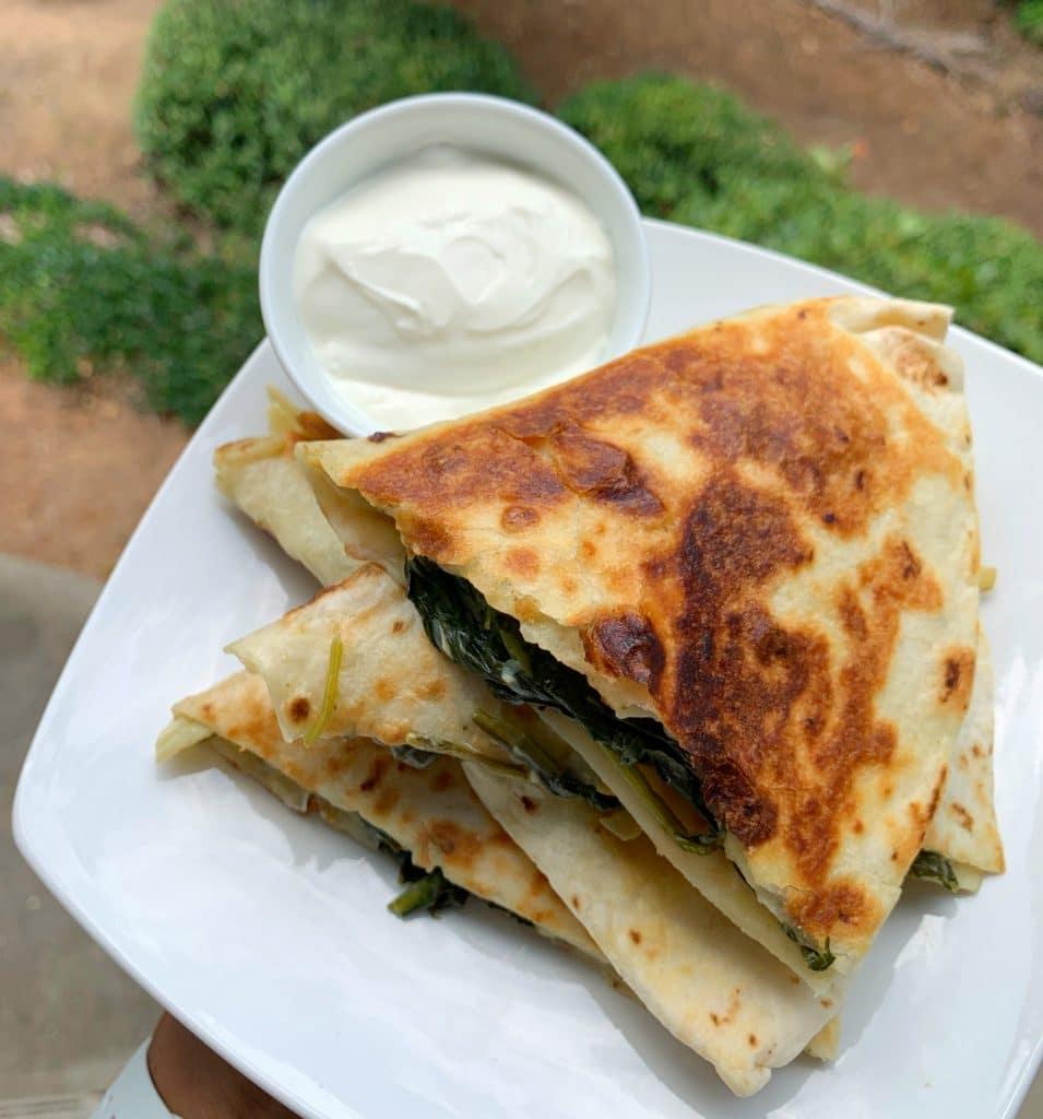 spinach and artichoke dip quesadillas