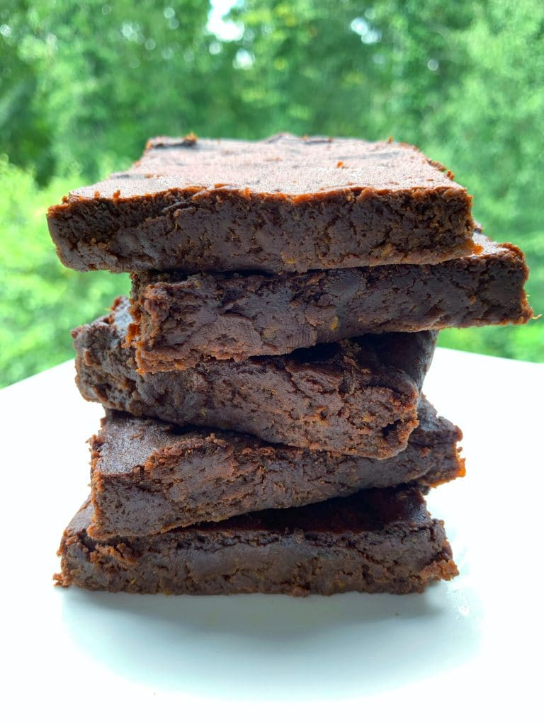sweet potato brownies stacked on top of each other
