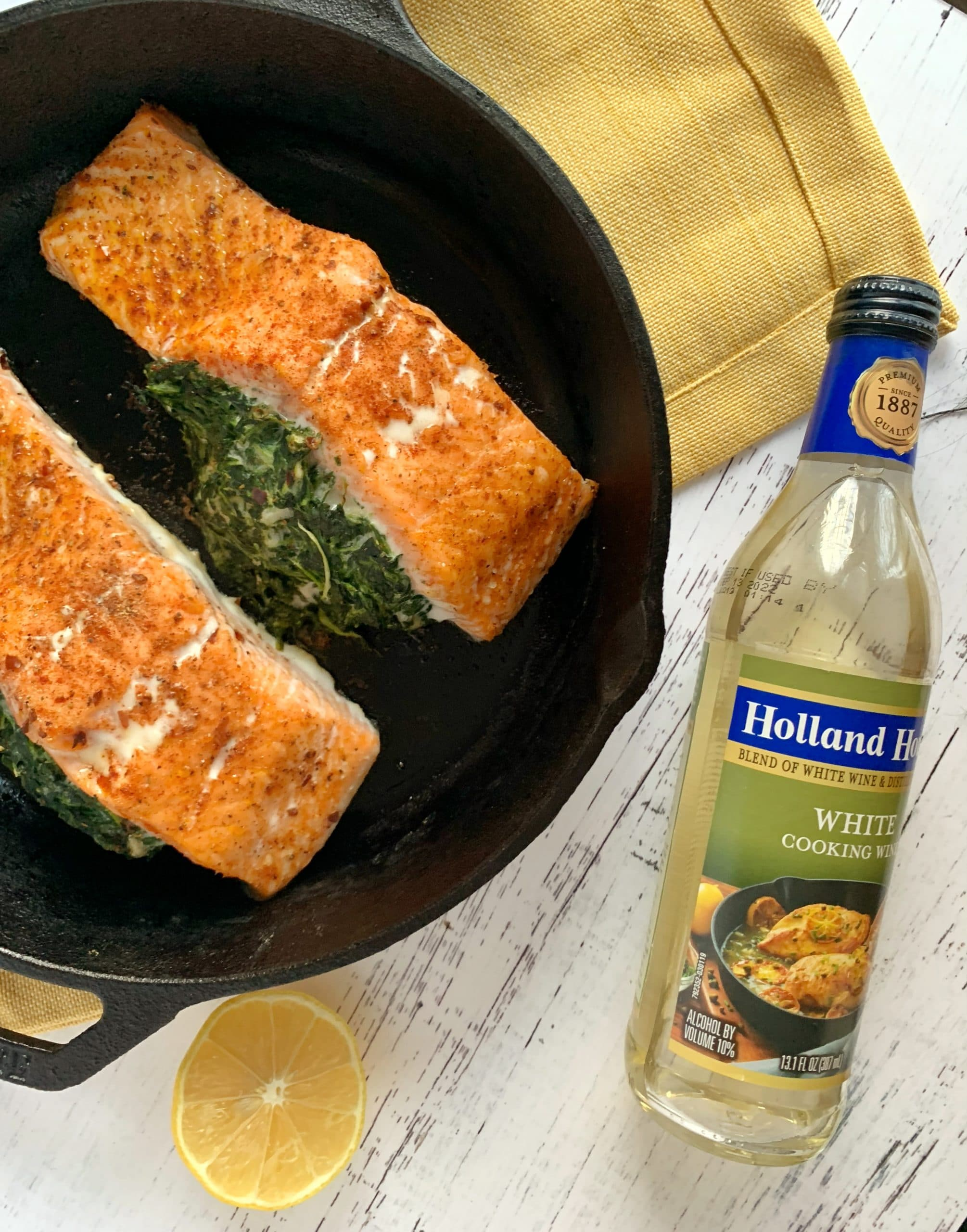 spinach stuffed salmon with a wine butter sauce