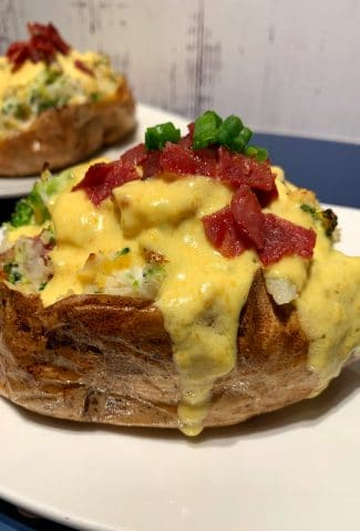 cheddar broccoli loaded baked potatoes