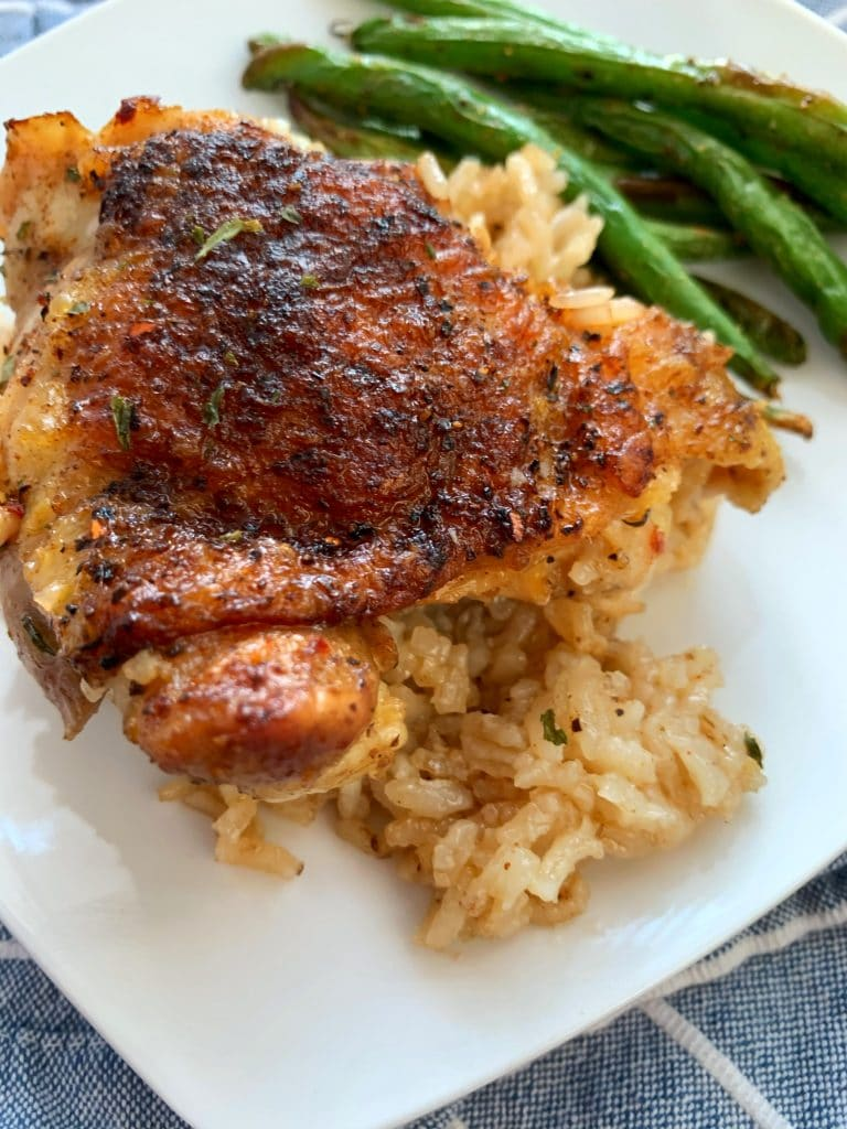 chicken and rice over green beans